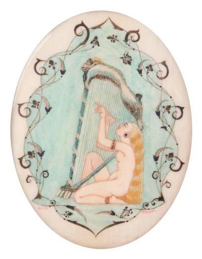 HENRY FRUGES (1874-1979)La harpiste Miniature...