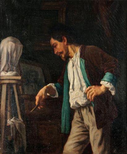 Alphonse JOUATTE (1827-1892)Angoisse d'artistehuile...