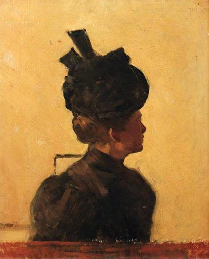 Attribué à Jules POLLETElégante au chapeauHuile...
