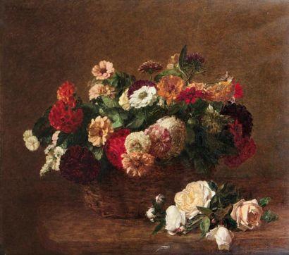 Victoria DUBOURG(1840-1926)Panier de fleursHuile...