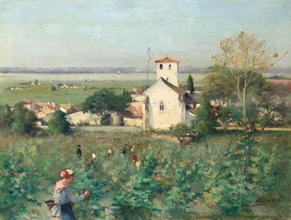 Alfred SMITH(1854-1936) Les vendanges, 1884...