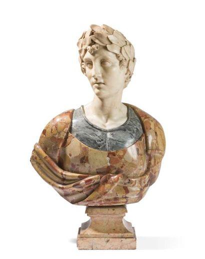 Buste en marbre blanc, gris veiné et marbre...