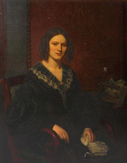 Ecole française XIXème siècle  Jeune femme...