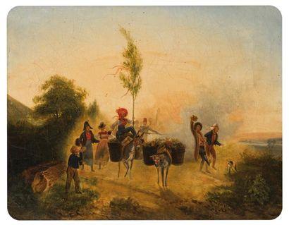 ECOLE XIXème SIECLE  Fête de village  Huile...