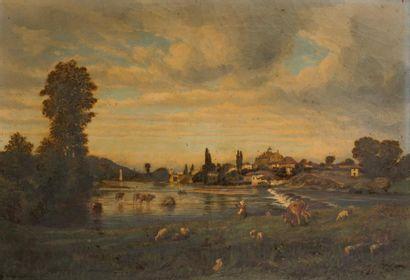 Ecole française XIXème siècle  Paysage pastoral...