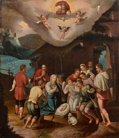 ECOLE FLAMANDE VERS 1600,  Adoration des...