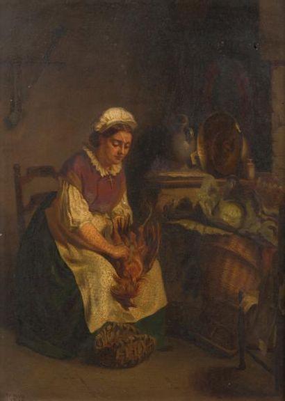 Ecole française XIXème  Femme plumant une...