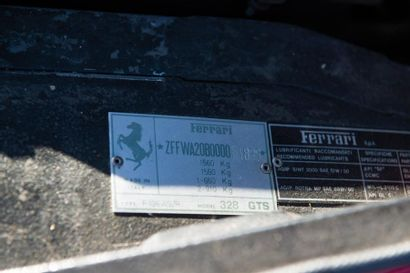 FERRARI Berlinette sportive découvrable type 328GTS du 14/07/1986, n° de série ZFFWA20B000064889...