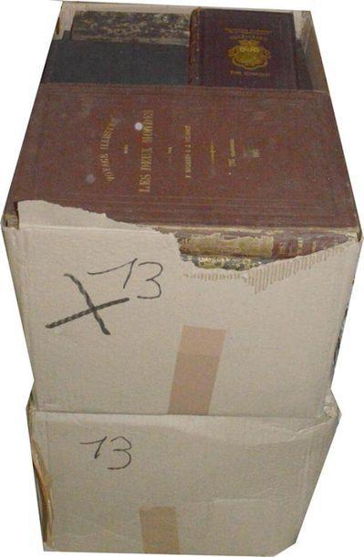 Voyages: 2 cartons d'ouvrages XIXe et reliés...