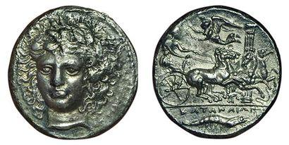 SICILE. CATANE. 405-403 av. J.C. Tétradrachme....