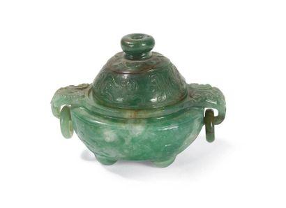 Brûle-parfum tripode couvert en jadéite Chine,...