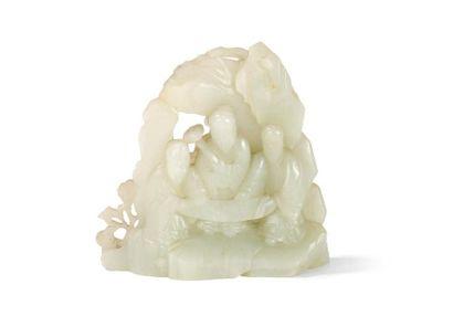 Rocher en jade céladon pâle Chine, XIXème...