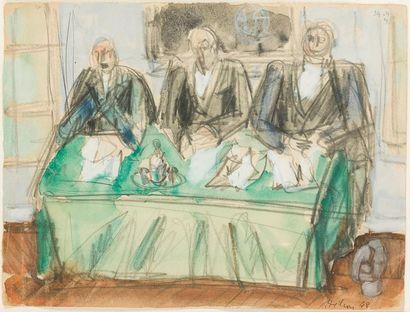 Jean HELION 1904-1987 Les juges, 1948 Aquarelle...