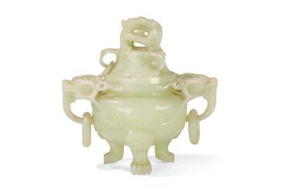 Brûle-parfum tripode couvert en jade céladon...