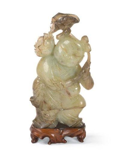 Statuette de Hoho en jade Chine, fin du XIXème...
