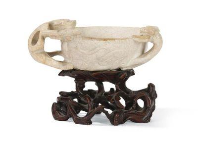 Coupe en jade calcifié Chine, XIXème siècle...