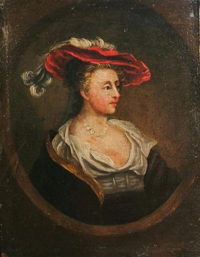 ECOLE DU XVIIe SIECLE Portrait d'Elégante et Portrait d'homme au chapeau. Deux peintures...