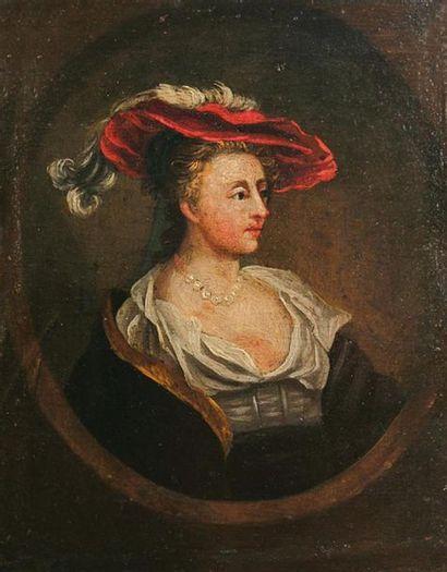 ECOLE DU XVIIe SIECLE Portrait d'Elégante...