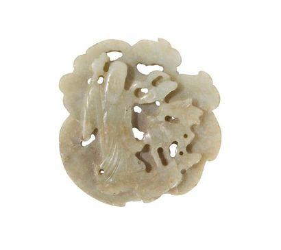 Petite plaque en jade gras de mouton Chine,...
