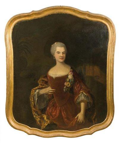Ecole française du XVIIIème siècle Portraits d'homme et de femme de qualité Deux...