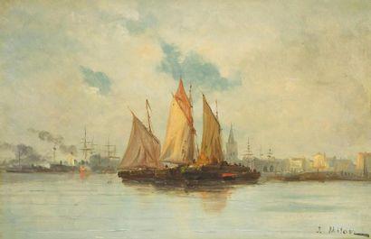 Joseph MILON 1868-1947 Voiliers au port Huile sur toile, signée en bas à droite....