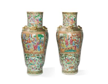 Paire de vases en porcelaine de Canton Chine,...