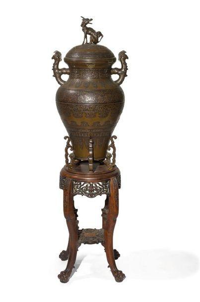 Vase couvert en bronze Indochine, début du...