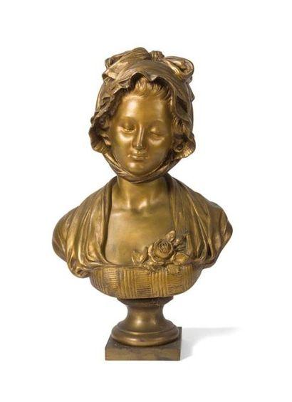 Buste de jeune fille en bronze à patine médaille...