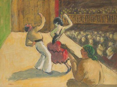 Marcel COSSON (1878-1956) Les cuisines - Spectacle de flamenco Aquarelle gouachée...