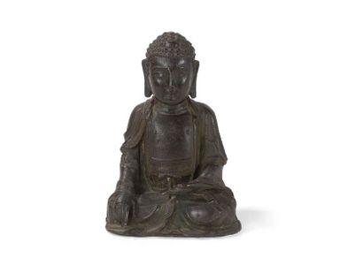 Statuette de bouddha en bronze Chine, dynastie...