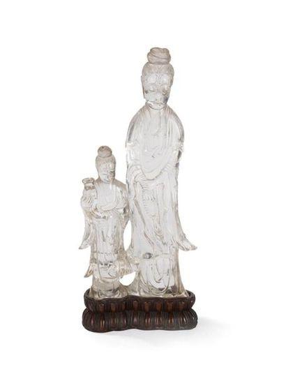 Groupe en cristal de roche sculpté Chine,...