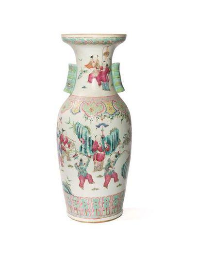 Vase en porcelaine de Canton Chine, début...
