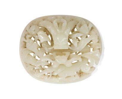Plaque en jade céladon pâle Chine, XIXème...