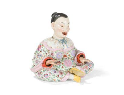 Allemagne Figure de Chinois assis en porcelaine...