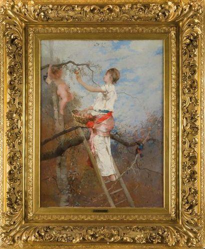 Auguste Emile PINCHART (1842-1920) La cueillette, 1876 Huile sur toile, signée et...