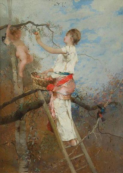Auguste Emile PINCHART (1842-1920) La cueillette,...