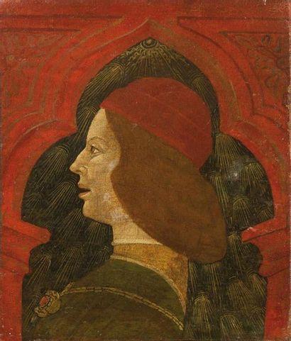 Ecole Lombarde vers 1480 Portrait d'homme de profil ; Portrait de femme de profil Paire...
