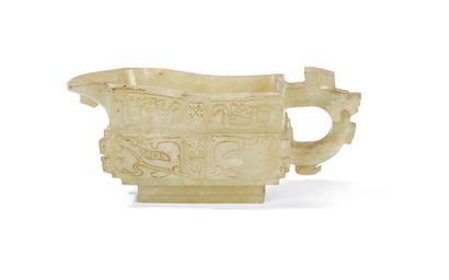 Verseuse archaïsante en jade Chine, début...