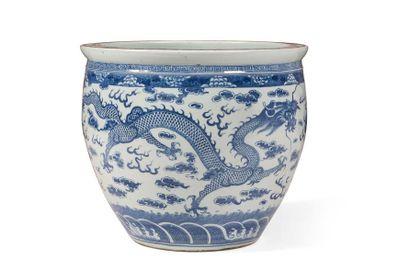 Vasque à poisson en porcelaine bleu blanc...