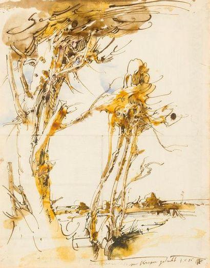 Horts JANSEN (1929 1995) Paysage Lavis d'encres...