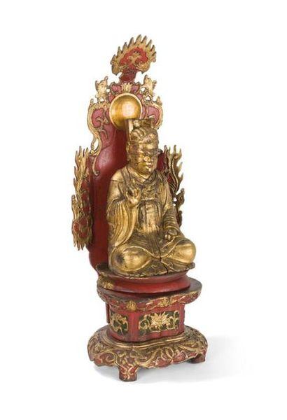 Statuette de dignitaire assis en bois laqué...