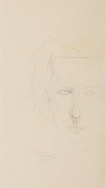 Alfred COURMES (1898-1993) Portrait de femme...