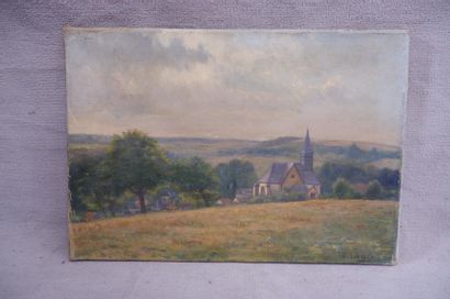 F. LINDLEY (XXe siècle). L'église. Huile...