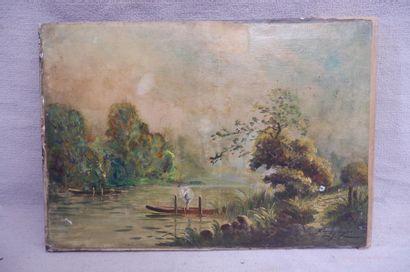 MAYER (XXe siècle). Paysage à la barque....