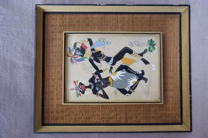 PEREZ (XXe siècle). Danse africaine. Gouache...