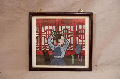 Ecole cantonaise du XXe siècle. Femmes. Deux...