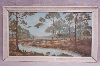 P. BONNAFONT (XXe siècle). Rivière sous les pins, 1953. Huile sur isorel signé et...