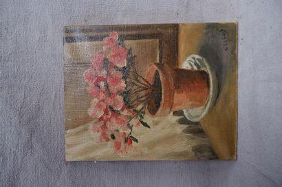 G. RICHARD (XXe siècle). Pot de fleurs. Huile...
