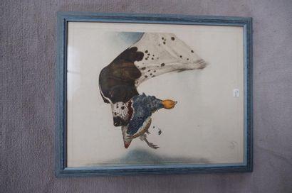 RIAB (1898-1975). Pointer et perdreau. Lithographie...