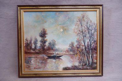 MARQUET (XXe siècle). Barque sur une rivière....